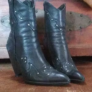 Black leather, studded , wedge ankle boots.